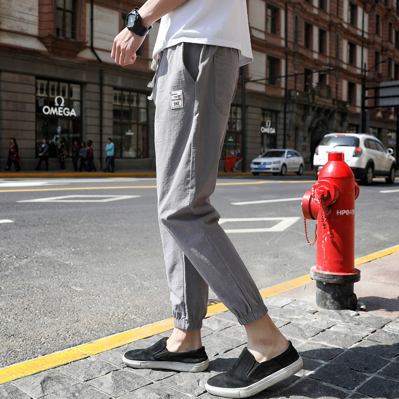 休闲裤夏季束脚九分男士宽松运动长裤工装薄款裤子男韩版潮流百搭